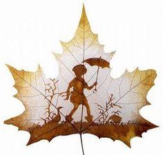 Maple leaf painted
