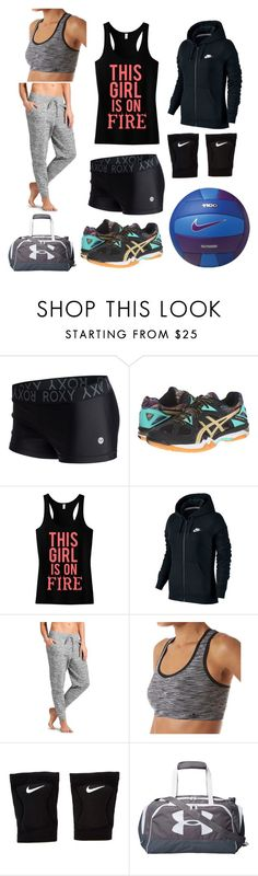 """Volleyball Anyone?"" by lesley-danae-2003 on Polyvore featuring Roxy, Asics, NIKE, Athleta, Lily of France and Under Armour"
