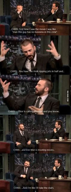 """""""And I'm like I'll take the stairs! """" - Chris Evans on Captain America"""