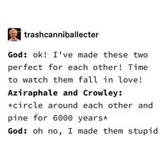 I boat these two idiots lmao 😭 . Anyways, thank u sm for omg 🥺🖤 . (👈 Don't use this hashtag pls ☺️) Good Omens Book, Funny Memes, Hilarious, Michael Sheen, Terry Pratchett, Crowley, Book Fandoms, Movies And Tv Shows, Fangirl