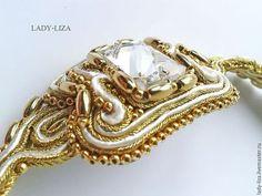 Купить Сутажное колье Селена Свадебные сутажные украшения - золотой, колье из бисера, Вышивка бисером