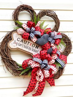 Beautiful paw print grapevine wreath