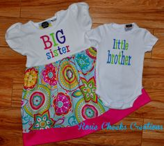 Little Brother/Big Sister Set - T-shirt Dress/Bodysuit Set - Coming Home Outfit -Baby Gift on Etsy, $54.00