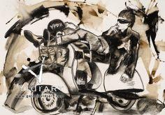 Descanso en la carretera Tonia Pérez 100x70cm @Galería de Arte Vidrart Menorca #art #gallery