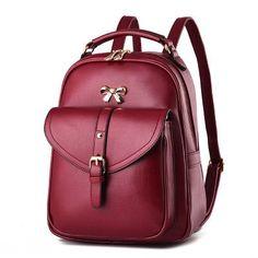 2016 New Fashion Women Black Leather Backpack Brand Quality Girls Travel School Bags Bow Knitting Woven Backpacks mochila XA679H