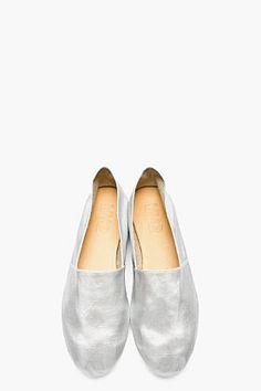 MM6 MAISON MARTIN MARGIELA Silver Coated Slip-On Shoes