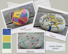 Je vous propose cette fois une activité qui peut occuper les enfants deux jours de suite, les galets peints. Diy Simple, Posca, Globe, Painted Pebbles, Children, Speech Balloon