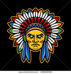 Colorful American Indian Chief head, perfect for sport