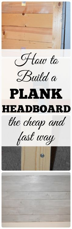 DIY Headboard. How to build a plank farmhouse style headboard. How to use gray stain and whitewash to create a weathered look. No special tools needed!