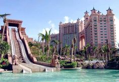 The Leap of Faith waterslide  Atlantis' waterpark is known as Aquaventure, and features high-tech waterslides built to look like ancient monuments. The highest of them, the Leap of Faith, is over 27 metres high.