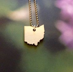 Lasercut Wood Ohio Necklace Small State Jewelry by purpleandlime