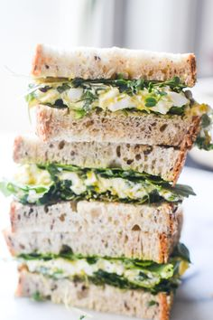 Egg Salad Sandwich with Fresh Herbs and microgreens. Sandwich Recipes, Lunch Recipes, Cooking Recipes, Yummy Recipes, Egg Salad Sandwiches, Wrap Sandwiches, Lettuce Sandwich, I Love Food, Good Food