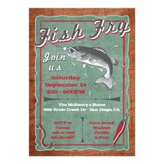 Fish Fry Invitation Printable Party by MakinMemoriesOnPaper Must