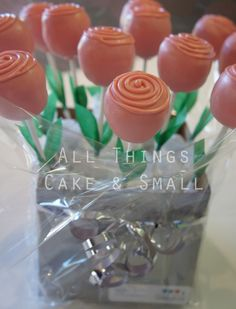 Pink rose cake pop bouquet