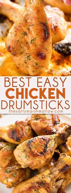Easy Baked Chicken Drumsticks Recipe is the perfect way to make juicy and tender chicken that your whole family will love! These chicken legs are coated in a simple, and flavorful marinade, then baked to perfection. #chicken #chickenlegs #chickendrumsticks #dinner