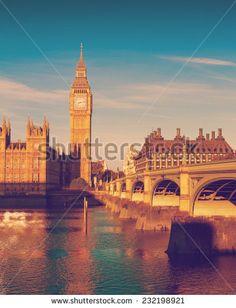 Westminster Bridge, Red Bus, Big Ben, Filters, Tower, Display, Colour, Stock Photos, Retro