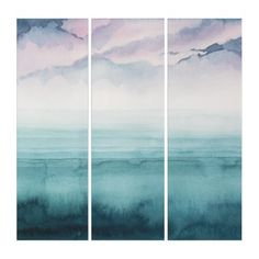 Shop Dusk on the Bay - Watercolor Triptych created by worldartgroup. Watercolor Canvas, Watercolour, Triptych Art, Single Image, Wall Art Sets, Abstract Expressionism, Canvas Art Prints, Dusk, Artwork