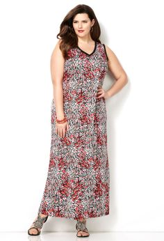 Coral Burst Maxi Dress-Plus Size Dress-Avenue Avenue Dresses c73100a78734