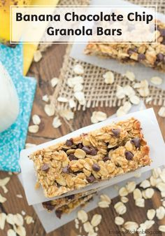 These Banana Chocolate Chip Granola Bars are quick and easy to make and are the perfect breakfast or snack-time recipe. Combine old-fashioned oats, honey, mashed banana, and chocolate chips to create this delicious on-the-go meal.