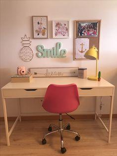 Escritorio juvenil, escritorio ikea - Vids Tutorial and Ideas Study Room Decor, Room Decor Bedroom, Ikea Bedroom, Home Office Design, Home Office Decor, Home Decor, Office Ideas, My Room, Girl Room