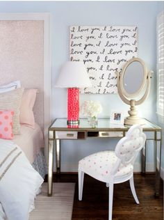 Master bedroom--desk end table.  That wall hanging is kinda cute, too...could prob inexpensively make on my own :)