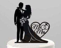 Pastel de bodas Topper silueta pareja Sr. & Sra. por TrueloveAffair