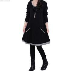 Women Plus Size Long Sleeve Thicken Fleece Mini Dress - Women Plus Size Long Sleeves Vintage Dresses Online, Vintage Outfits, Dress Plus Size, Black Long Sleeve Dress, Dress Black, Mini Vestidos, Plus Size Fashion, Casual Dresses, Shirt Dress
