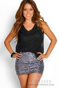 Black and Charcoal Silver Sequin Drapey Sleeveless Party Dress. Love this dress!