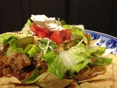 "If you're hosting a Super Bowl Party, why don't you have a ""Make Your Own Nacho Bar"" using this easy Taco Meat Recipe and all sorts of yummy nacho toppings! Meat Recipes, Mexican Food Recipes, Healthy Recipes, Ethnic Recipes, Recipies, Nacho Bar, Tacos, Food And Drink, Cinco De Mayo"