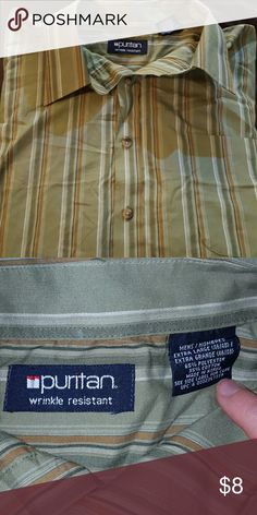 ?? NWOT Men's Dress Shirt NWOT Puritan olive green with golden brown and grey stripe button up shirt. Puritan  Shirts Dress Shirts