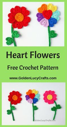 Crochet Flowers, heart flowers, heart shaped, #crochetflowers, crochet applique, #crochet, #freecrochetpattern, Valentine's Day, Mother's Day - GoldenLucyCrafts