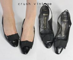 82bb9ac0df7 RESERVED 60s Shoes Bally 5   1960s Vintage Shoes Bow Slingbacks    Butterfield 8 Pumps