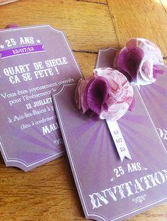 invitation anniversaire vintage pour 25 ans www.sweetpaper-fairepart.fr