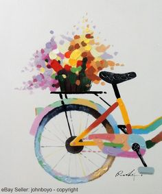 Flower Basket Bicycle Modern Pop Art Tall Stretched 20X24 Oil On Canvas Painting #PopArt