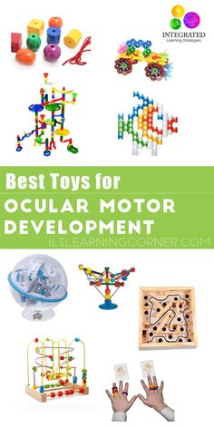 Best toys and activities for ocular motor development. A child with poor ocular motor and visual skills can have trouble reading, writing, tracking and may write their letters backward. Baby Sensory, Sensory Toys, Sensory Activities, Infant Activities, Preschool Activities, Writing Activities, Learning Tips, Kids Learning, Learning Games
