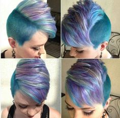 Non spiked up mohawk. I really like this cut, style and the color idea! Short Hair Model, Short Hair Cuts, Short Hair Styles, Short Sides Haircut, Shaved Hair Cuts, Fade Haircut, Ombré Hair, Hair Dos, Funky Hairstyles