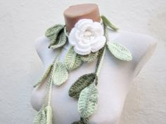 Removeable Brooch Pin Hand crochet Lariat Scarf  Green  by nurlu, $20.00