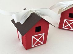 Perfect for a farm / barn themed wedding / party! Mini Barn Favor Box/ Luminary Set of 12