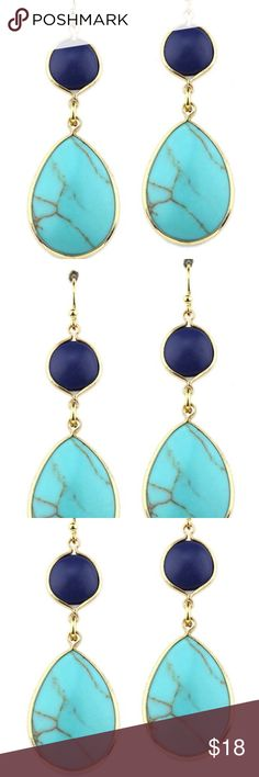 JUST IN Turquoise & Navy Earrings Turquoise and navy teardrop earring Size: L 1 3/4 inches                                                   Purchase by 4:00pm Central Time for same day shipping. Jewelry Earrings