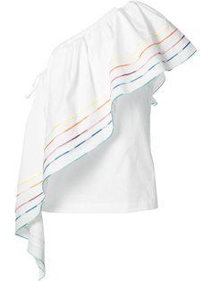 Shop Rosie Assoulin one shoulder 'Rainbow' blouse.