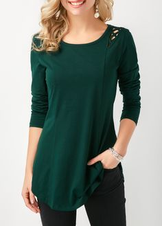 4c9a2be9926 Crisscross Detail Curved Long Sleeve Tunic T Shirt