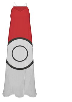 Pokeball Maxi Dress - Unique funny Pokemon style women's spaghetti strap long dress. Cute sexy video game women's fashion statement for the gamer geek girl. gaming,  geek humor. Unique and funny. This is an affiliate link.