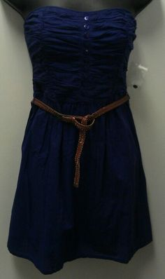 Blue Strapless Belted Dress $16.58
