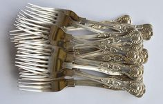 LOT 156: A good set of twenty-two Kings pattern dessert forks. London 1965. By CB&S. Approx. 1350 grams. Est. £380 - £420. Coming up in our #Silver #Jewellery #Toys and #Railwayana #Auction on Thursday 25th May. To include #Watches #Collectables #Pictures #China & #Antique #Furniture #May25 #whittonsauctions #Honiton #pin #twitter