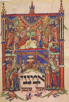 Moses receiving the Ten Commandments, from a Jewish prayer book written in medieval Germany, about 1290 AD (now in the Saxon State Library)