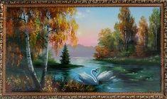Лебеди на озере - Осенний пейзаж <- Картины маслом <- Картины - Каталог | Универсальный интернет-магазин подарков и сувениров