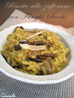 risotto allo zafferano con funghi secchi      #recipe #juliesoissons