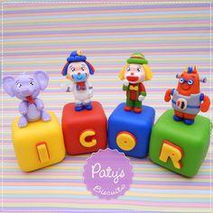 Cubos decorados Parque Patati Patatá - Festa Infantil - Paty's Biscuit