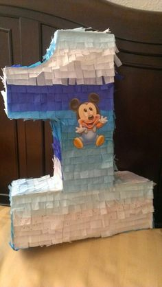 Home made #1 pinata for a Baby Mickey Mouse 1st Birthday