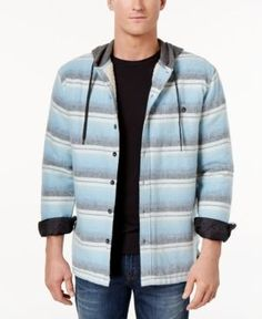 Billabong Men's Baja Stripe Hooded Shirt with Faux-Sherpa Lining  - Bl